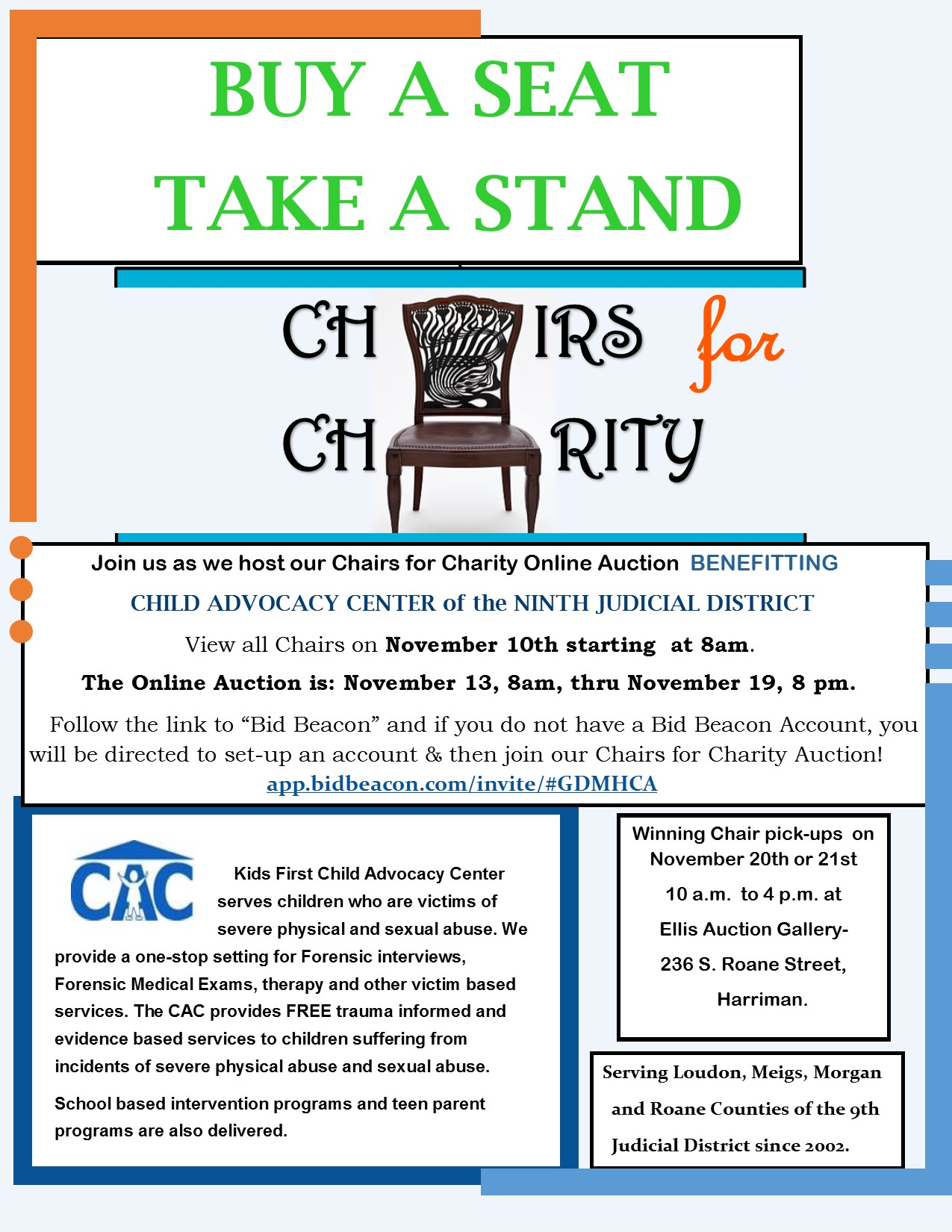 Chairs for Charity flyer