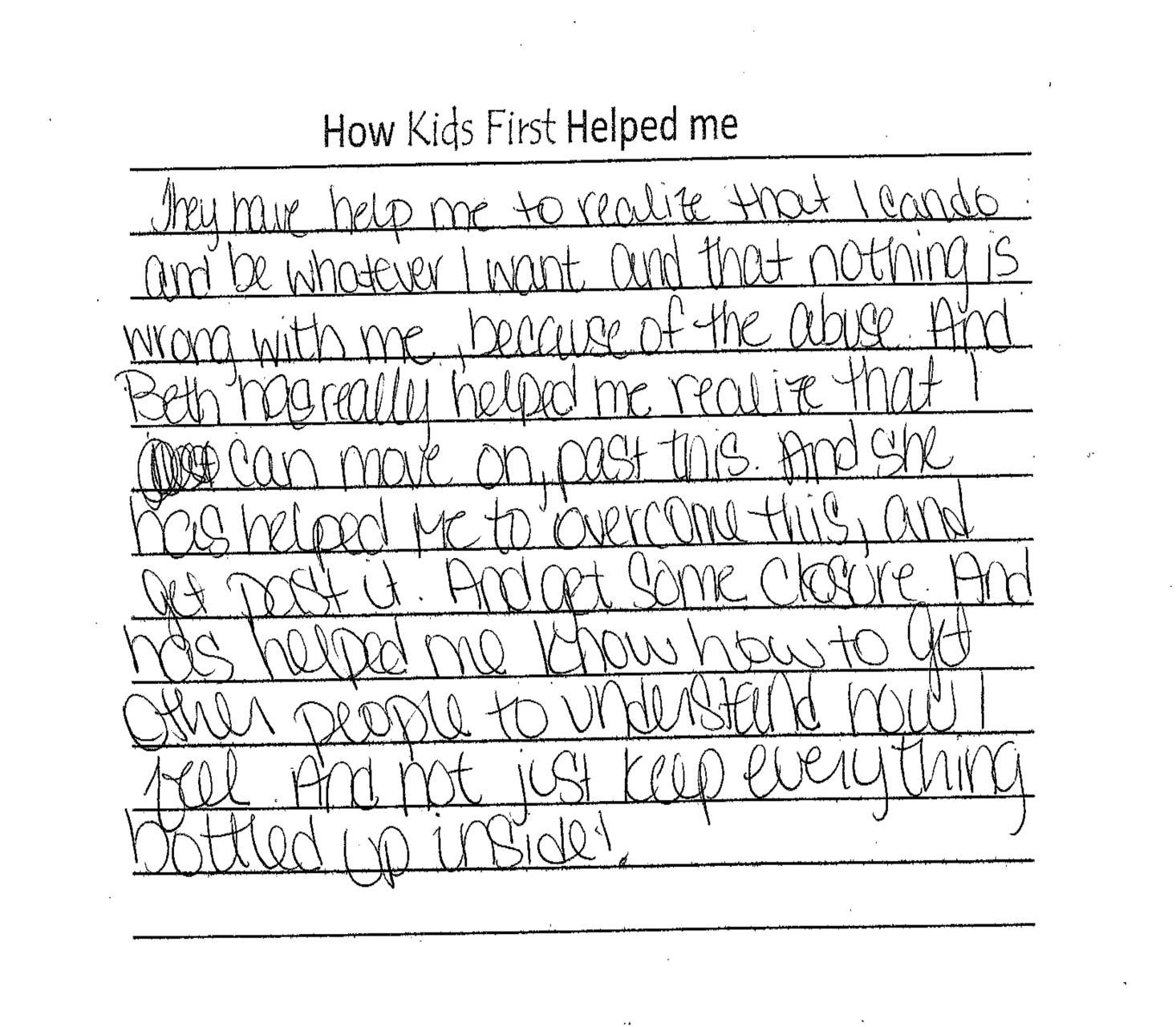 kids first client letters
